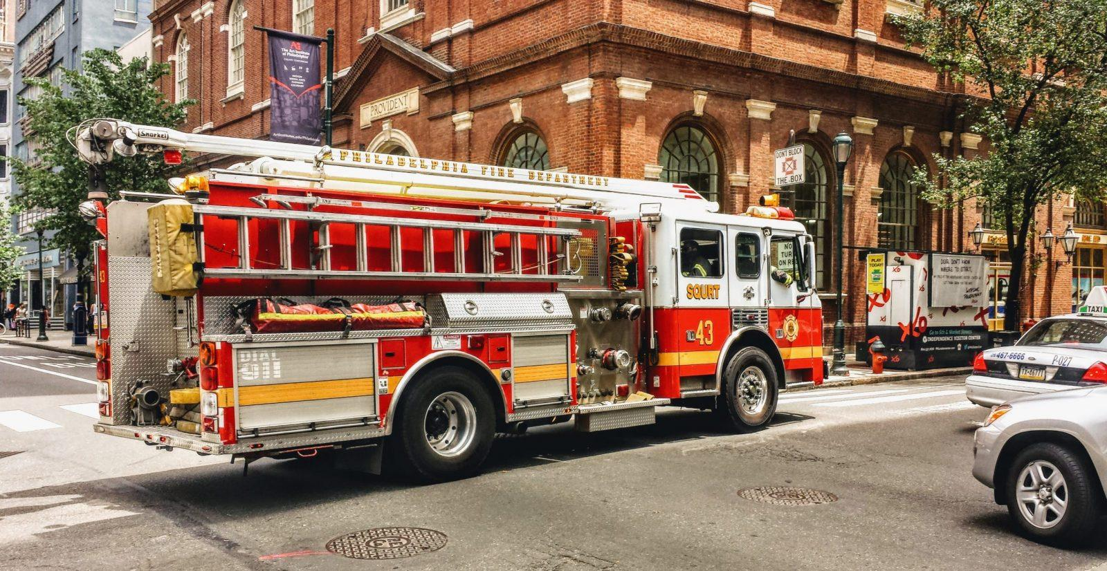 Emergency vehicle responding to a business or workplace incident